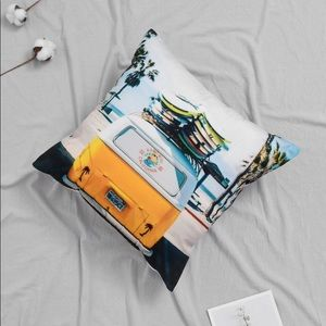 Volkswagen Pattern Yellow and Blue Pillow Case